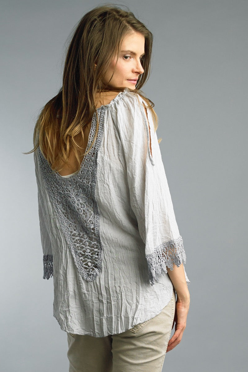 LAST CALL SIZE L | Crochet Cold Shoulder Bohemian Blouse in Grey