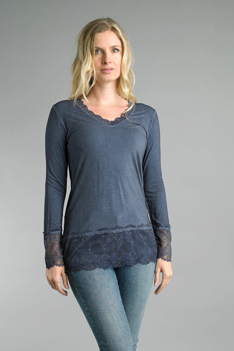 Long Sleeve Knit Top with Lace Details in Navy