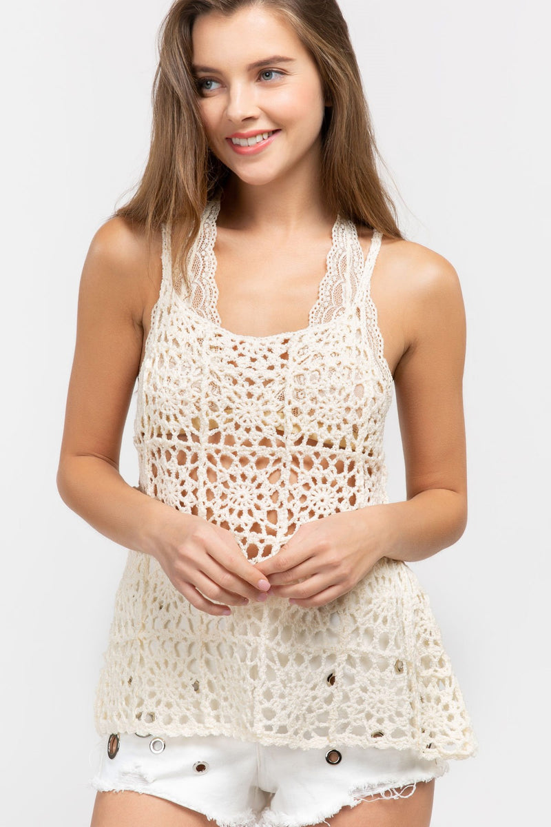 LAST CALL SIZE M | Open Weave Knit Cami Top