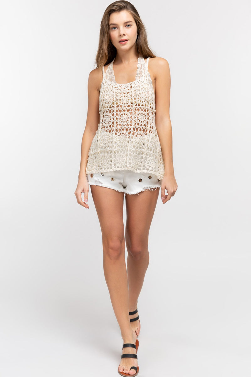Open Weave Knit Cami Top