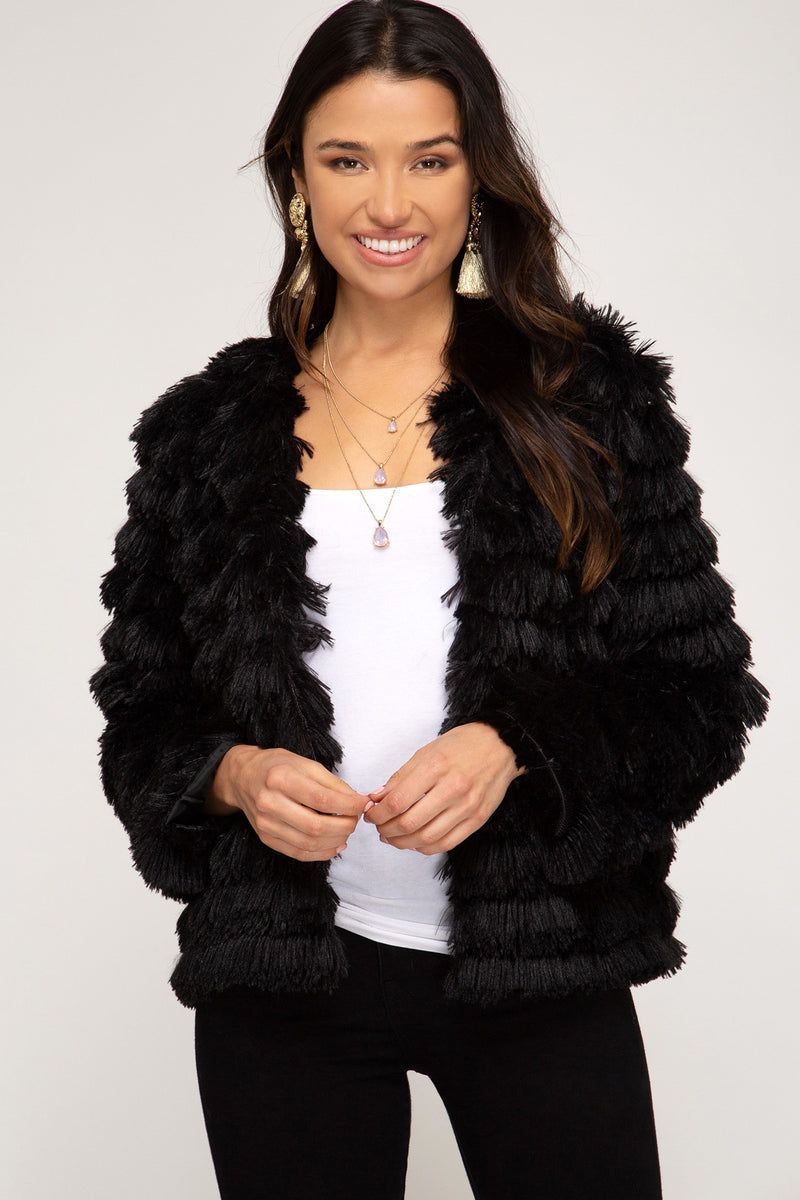 Shaggy Layered Fur Jacket in Black