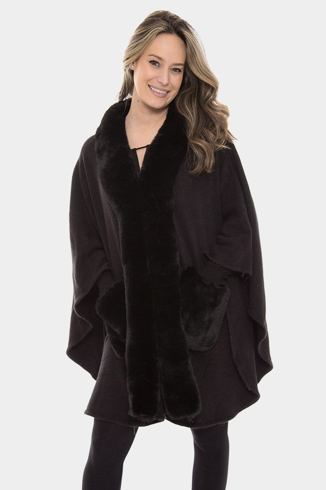 Faux Fur Trim Shawl Coat