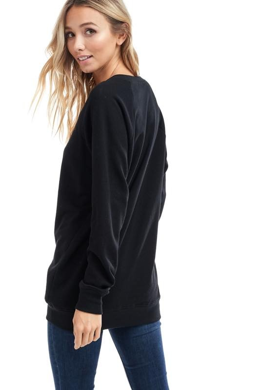 Colorful Weekender Long Sleeve Sweatshirt in Black