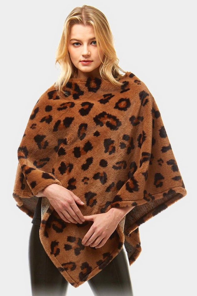 Faux Fur Brown Leopard Print Poncho