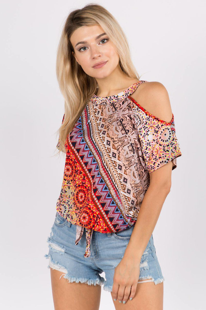 Tie Front Cold Shoulder Top in Bohemian Print