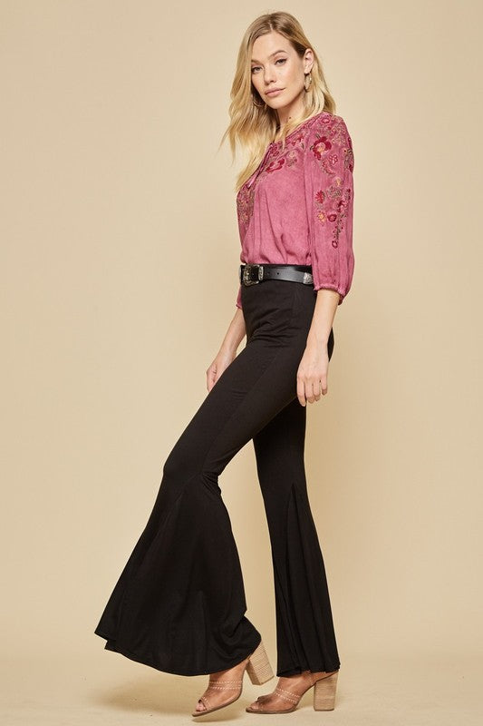 Black Bell Bottom Flare Legged Pants Side View