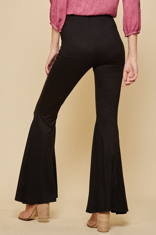 Black Bell Bottom Flare Legged Pants Back