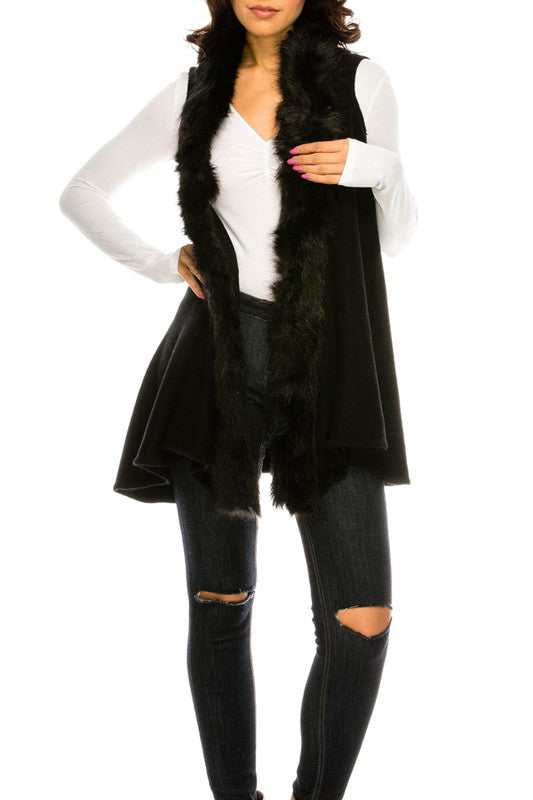 Sweater Vest with Luxe Faux Fur Trim in Black