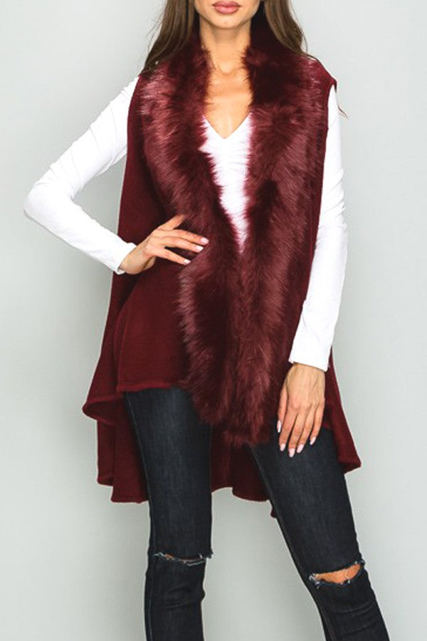Sweater Vest with Luxe Faux Fur Trim in Burgundy