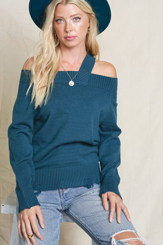 LAST CALL SIZE M/L | Off Shoulder Single Strap Teal Sweater