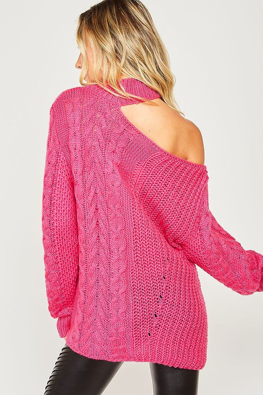 Shoulder Cutout Chunky Cable Knit Sweater in Hot Pink