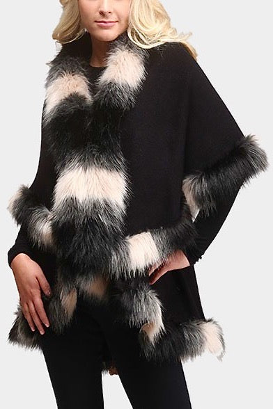 Fur Trim Wrap with Front Closure in Black
