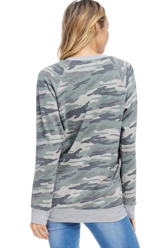 Airplane Mode Camo Long Sleeve Top Back