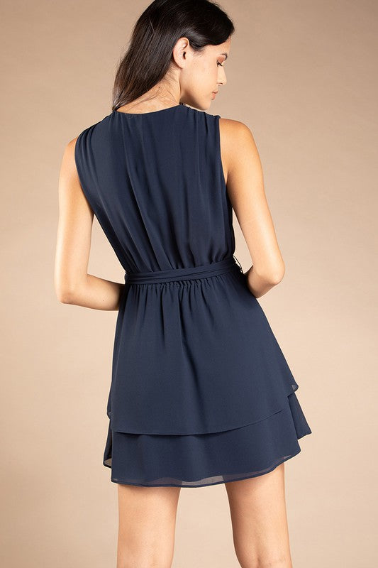 Belted Fit-n-Flare Dress in Navy