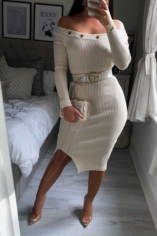 LAST CALL SIZE L | Off Shoulder Knit Sweater Dress with Grommet Neckline