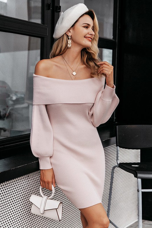 Puff Sleeve Off Shoulder Knit Dress Nude Pink