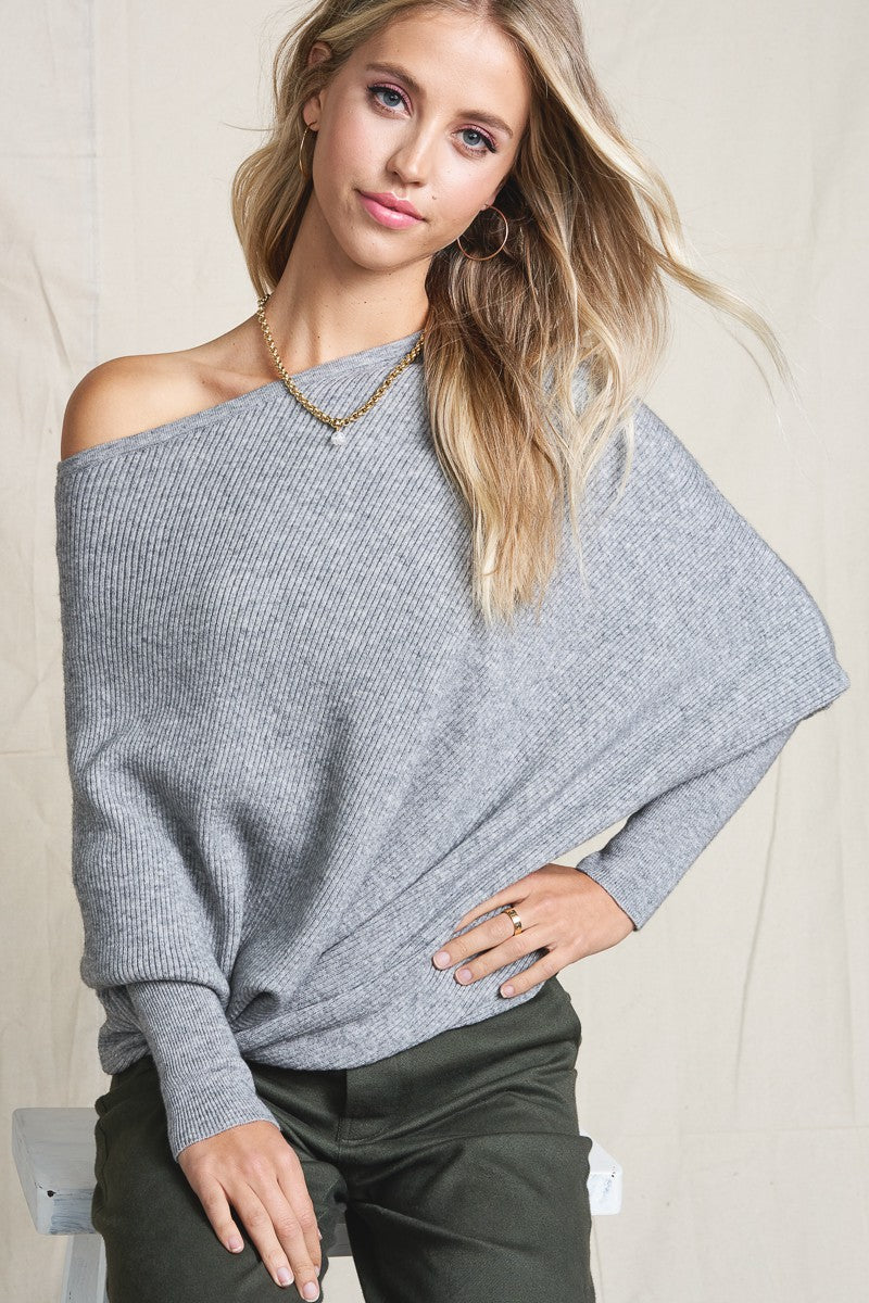 Off Shoulder Slouchy Heather Grey Sweater