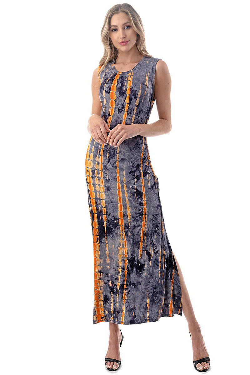 LAST CALL SIZE L | Ruched Side Maxi in Tie-Dye Print