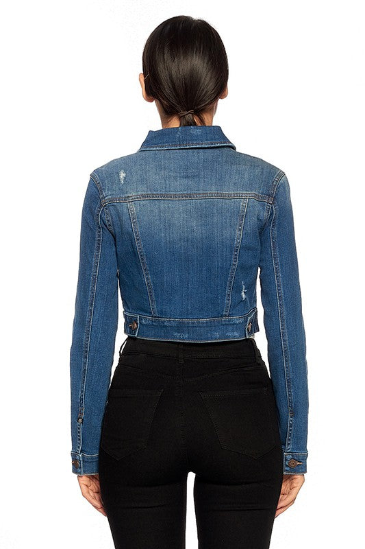 Fitted Distressed Cropped Jean Jacket in Medium Blue Wash