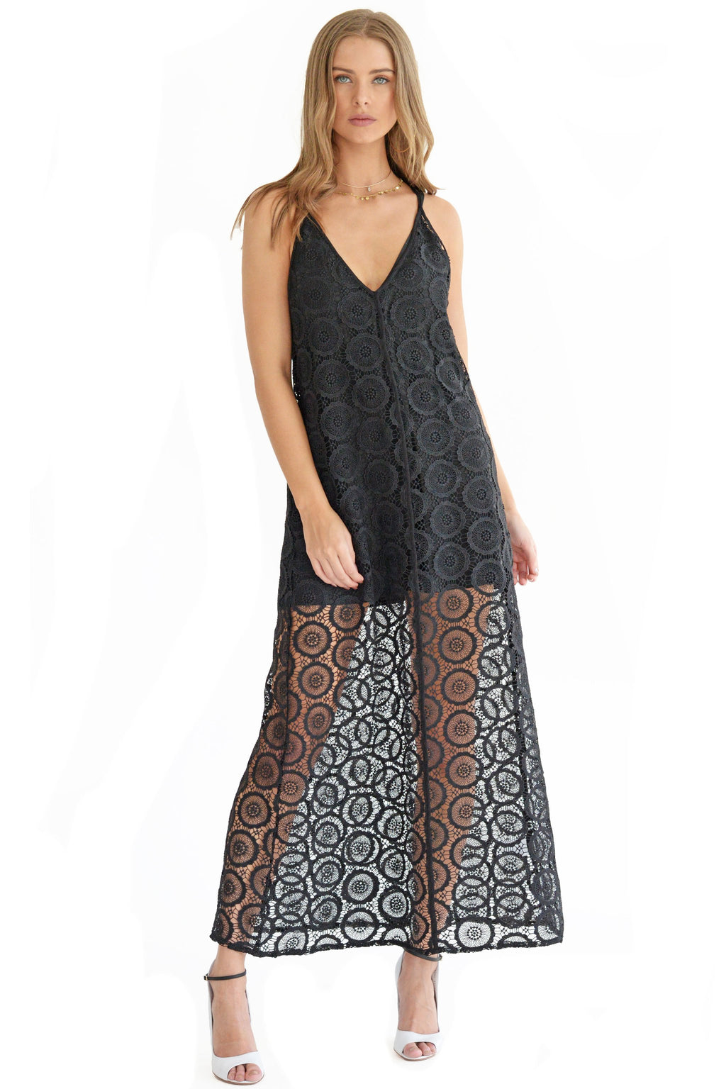 Crochet Lace Maxi Dress in Black