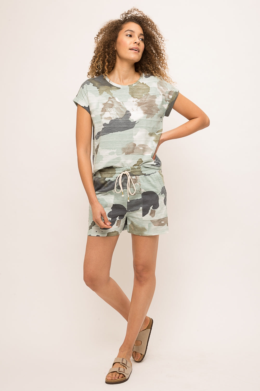 LAST CALL SIZE M | Camo Print Short Sleeve Top & Shorts Set