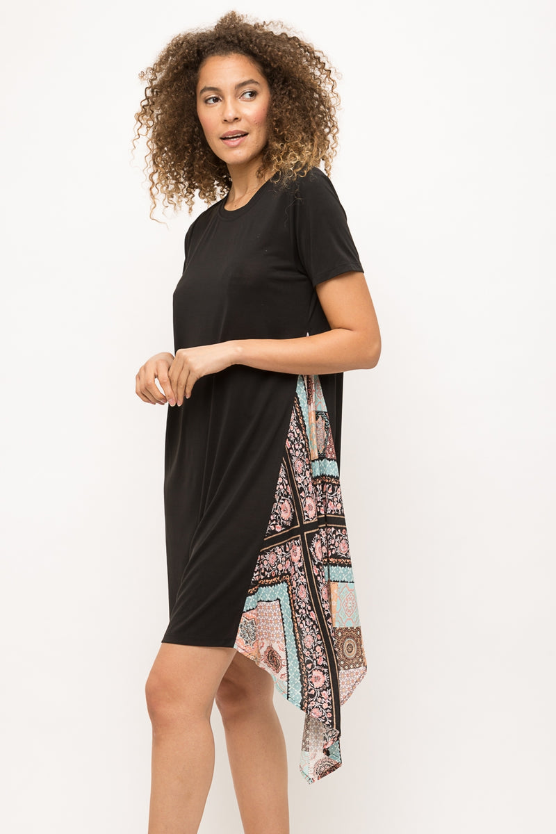Black Asymmetrical Pullover Dress