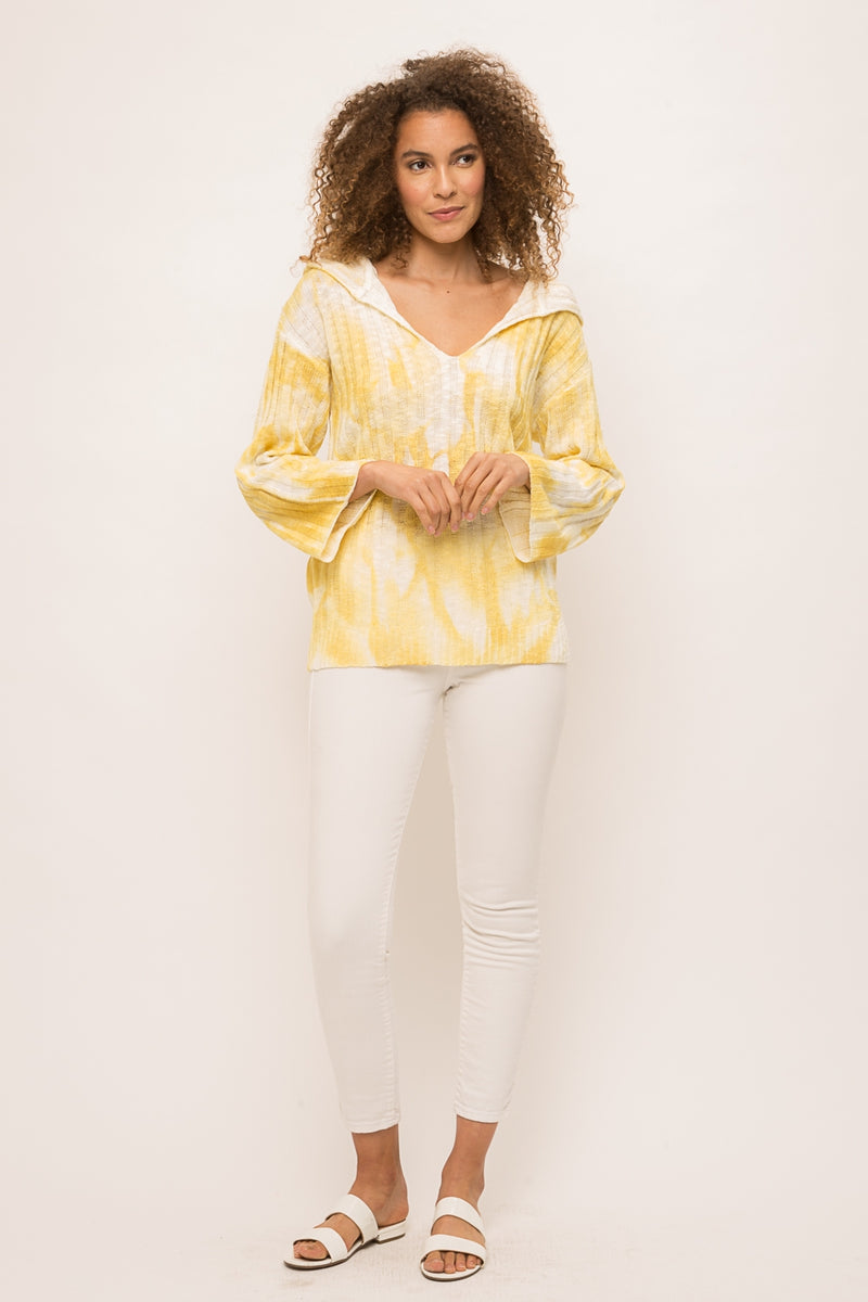 LAST CALL SIZE S | Yellow Tie Dye Hoodie Sweater