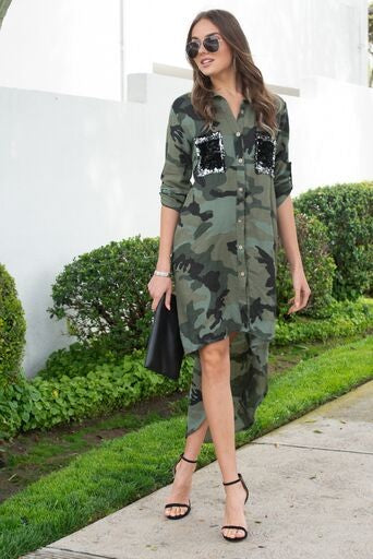 Sequin Pocket Camo Shirt Dress