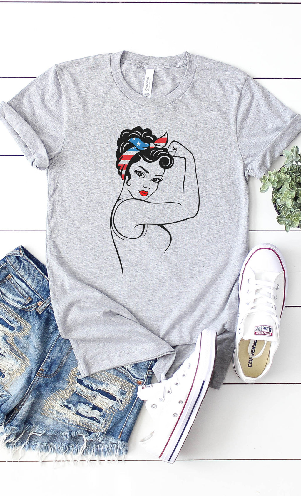 American Woman T-Shirt in Heather Grey