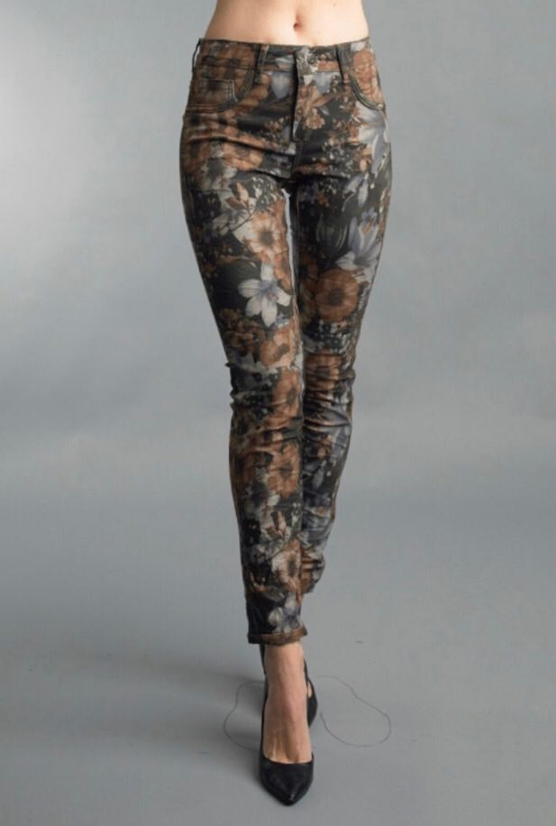 Reversible Jeans in Dark Taupe Floral