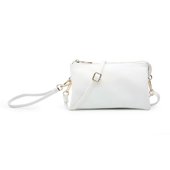 LAST CALL | Three Compartment Wristlet Crossbody Bag in White
