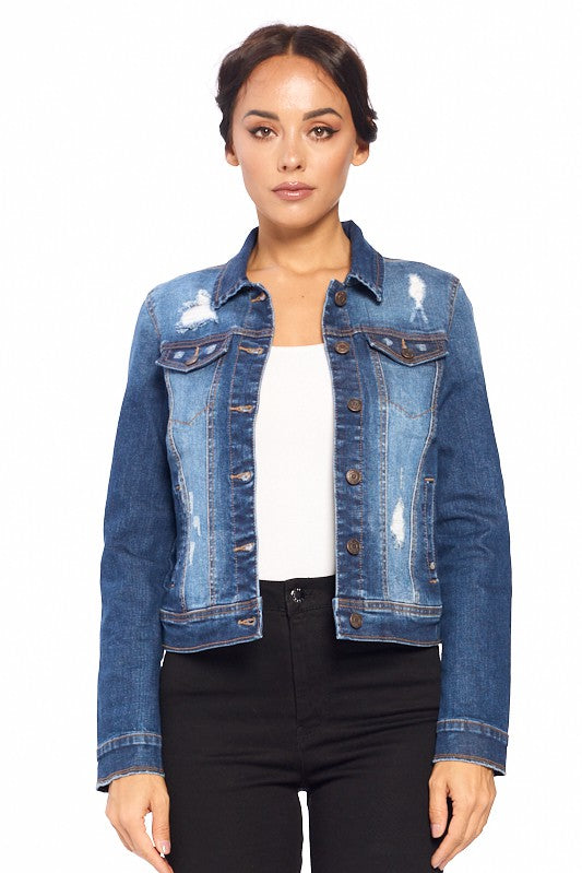 Fitted Distressed Jean Jacket in Dark Blue Wash