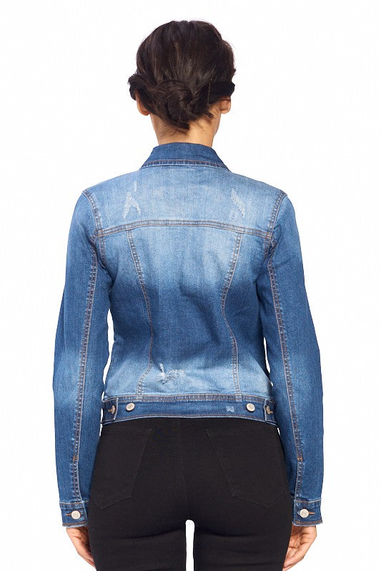 Fitted Distressed Jean Jacket in Medium Blue Wash