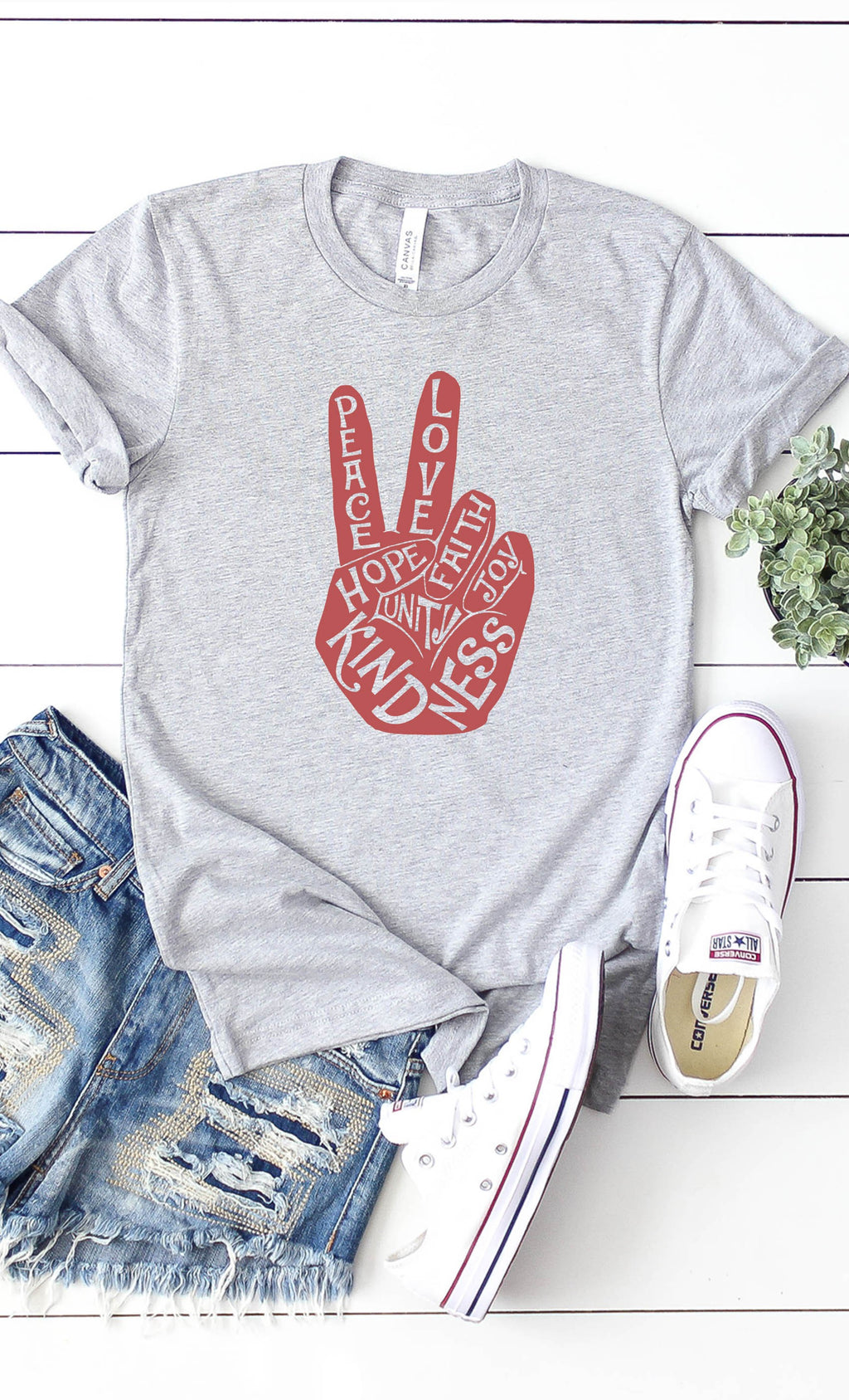LAST CALL SIZE XL | Peace, Love & Kindness T-Shirt in Heather Grey