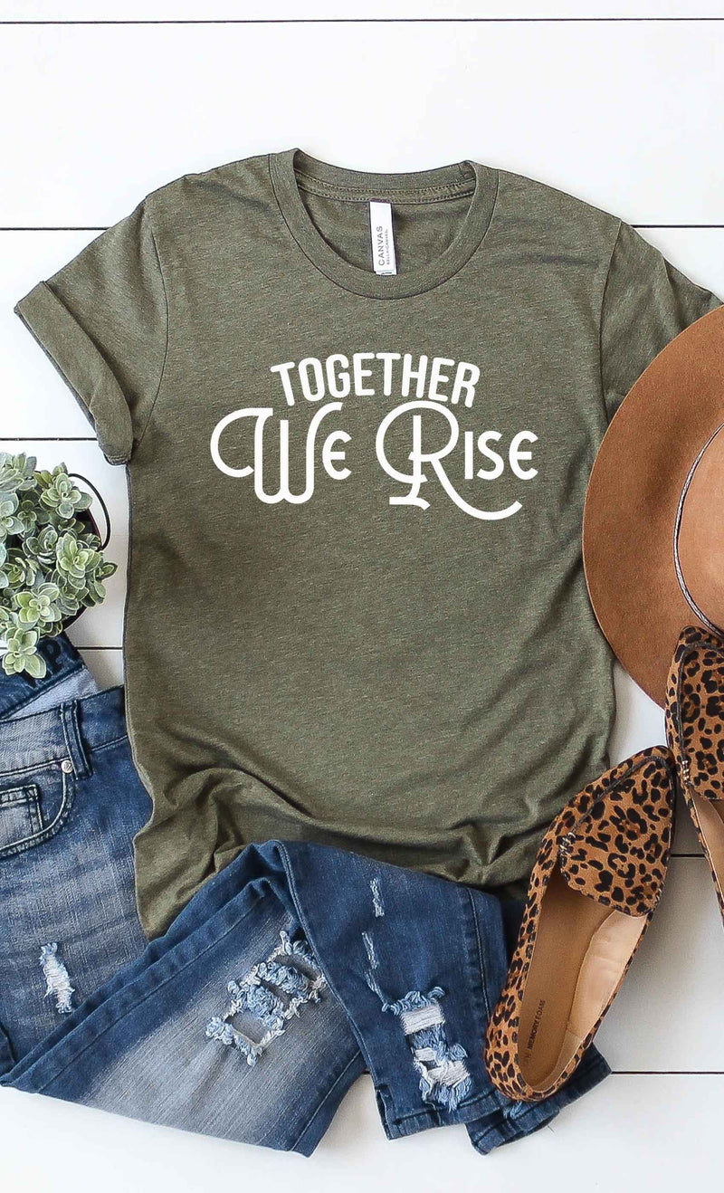 Together We Rise Graphic T-Shirt in Heather Olive