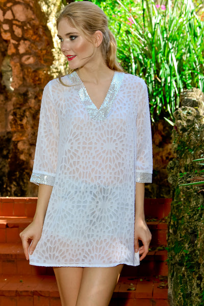 Burnout V-Neck Sequined Tunic in White