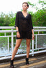 Burnout V-Neck Sequined Tunic in Black