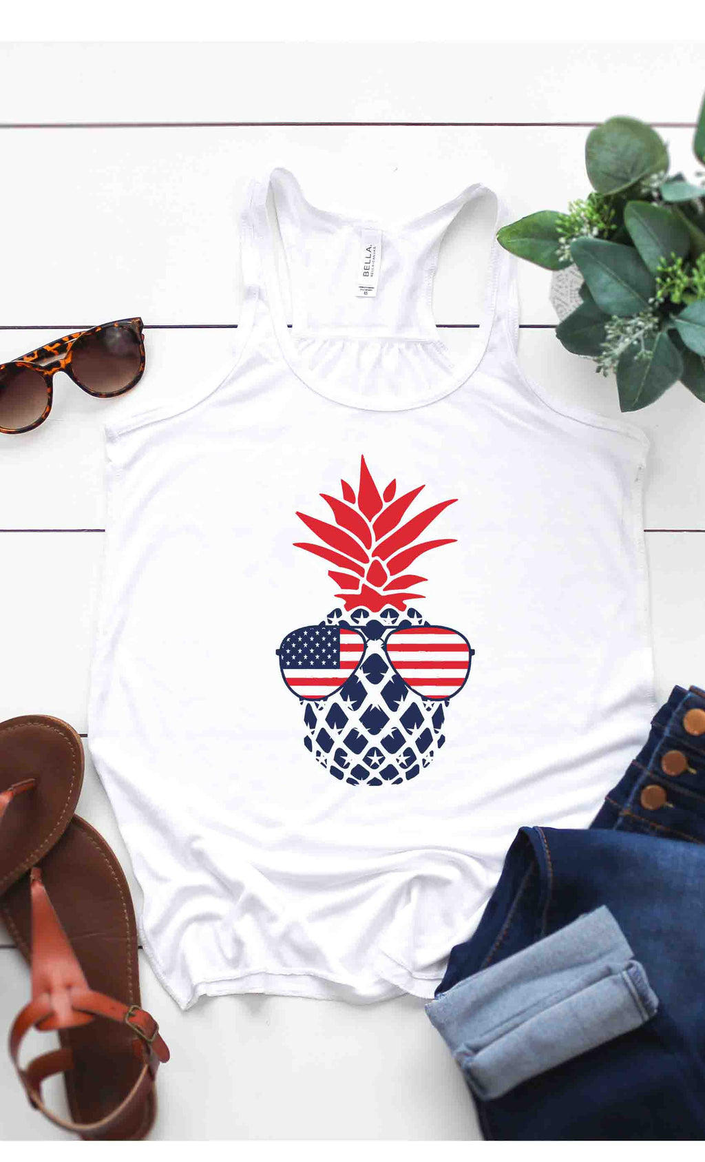American Flag Pineapple Tank Top in White