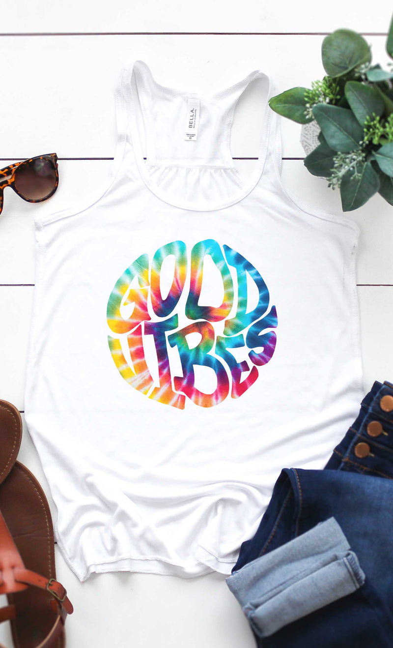 Tie-Dye Good Vibes Graphic Tank Top in White