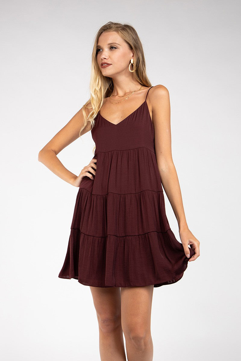 Tiered Cami Dress in Merlot