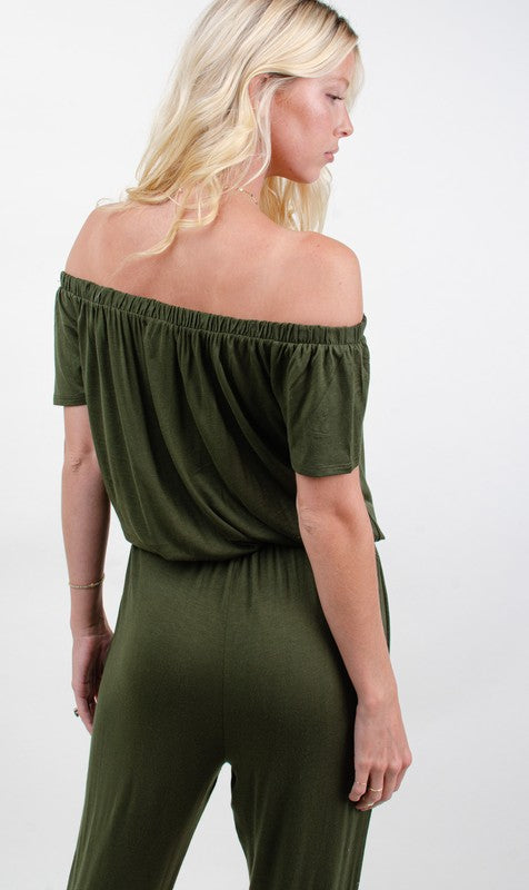 LAST CALL SIZE L | Off Shoulder Jumpsuit in Olive