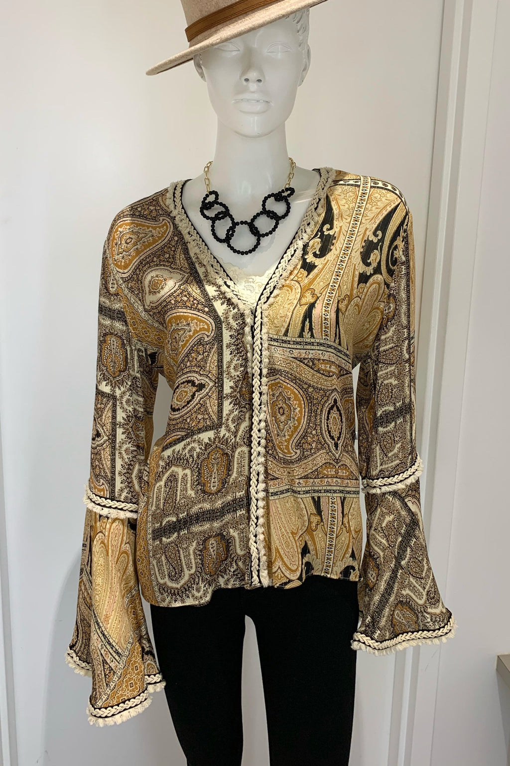 LAST CALL SIZE M | Embroidered Wrap Blouse with Bell Sleeves