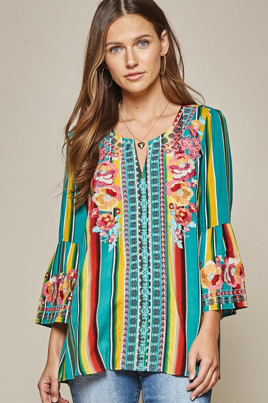 Teal Embroidered Tunic Top