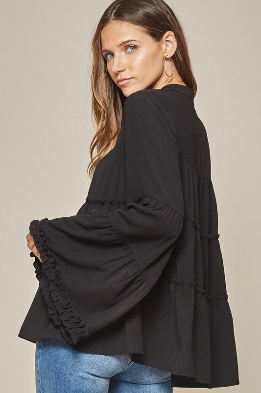 LAST CALL SIZE S | Black Long Sleeve Tiered Blouse