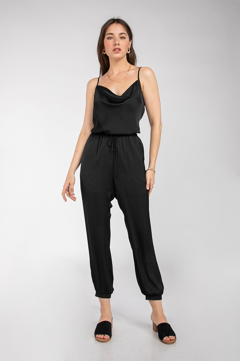 Cowl Neck Satin Finish Jogger-Style Jumpsuit in Black