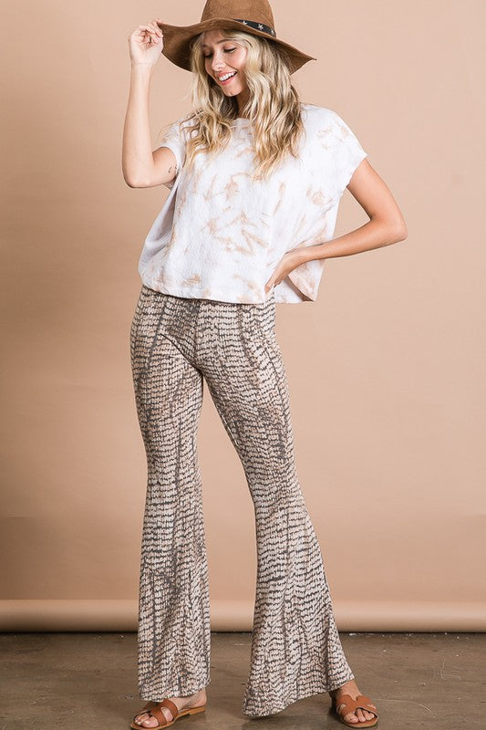 Brown Animal Print Flare Pants