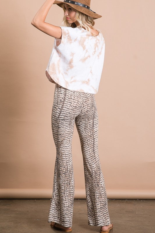 Brown Reptile Print Bell Bottom Flare Pants