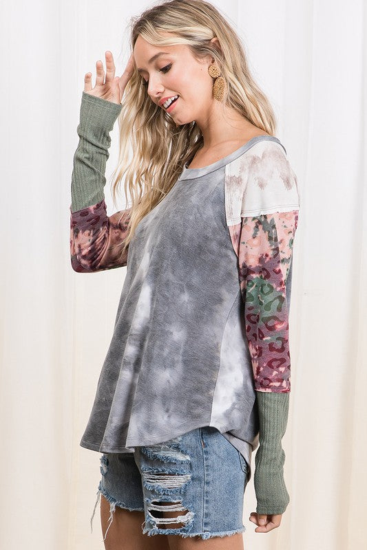 Mixed Medium Long Sleeve Top