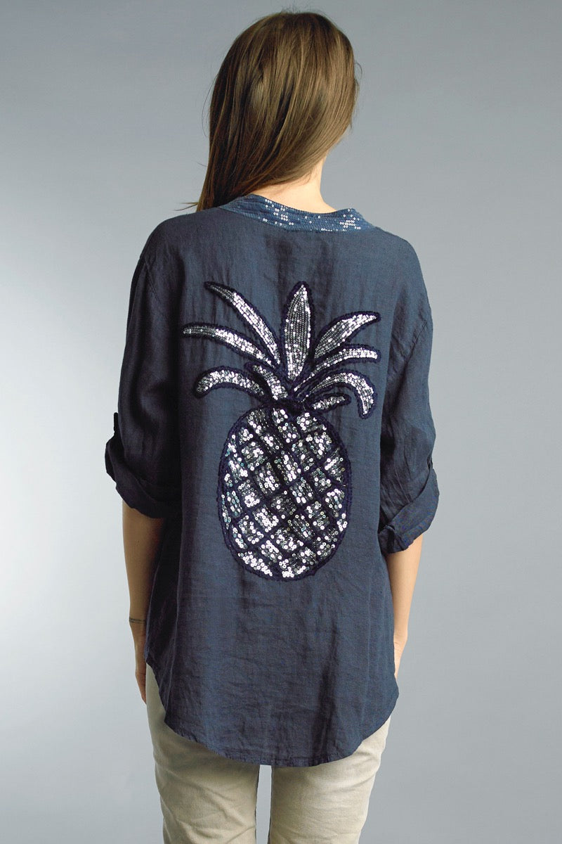 Linen Button Down Top with Sequin Pineapple Back Design in Navy