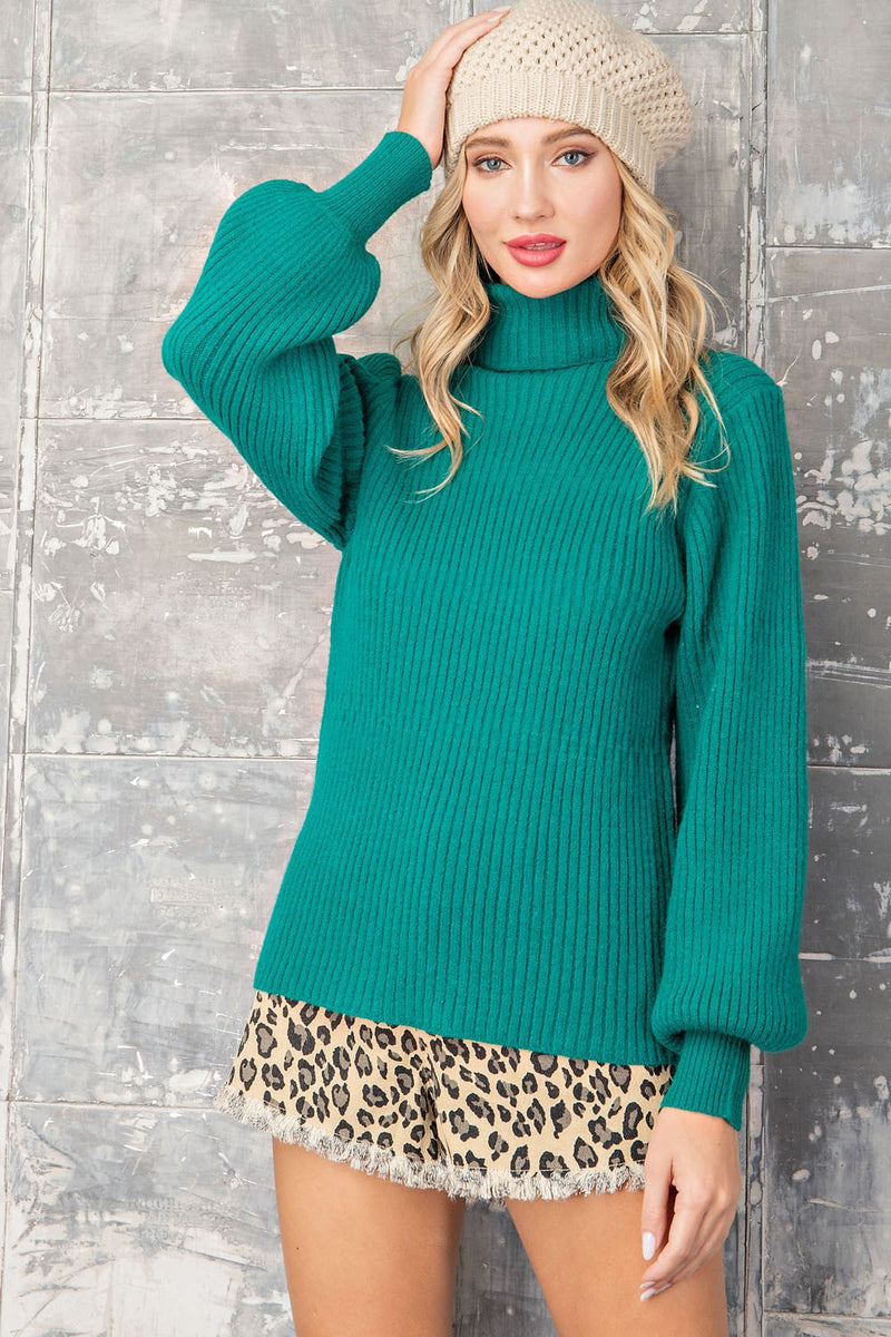 LAST CALL SIZE M/L | Turtleneck Sweater in Emerald Green